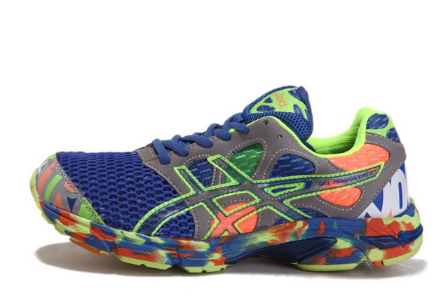 Asics Men's Gel Noosa Tri 7 Light Slate Gray Dark Blue Yellow Green